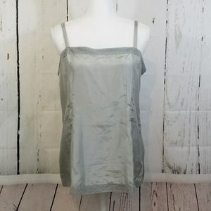 Eileen Fisher Gray Moon Silk Lace Trim Cami $148